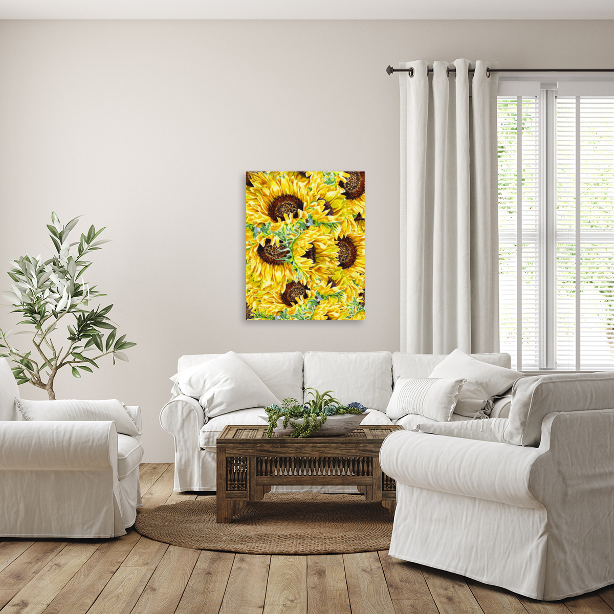 The Filed Of Watercolor Sunflowers Pattern  Art