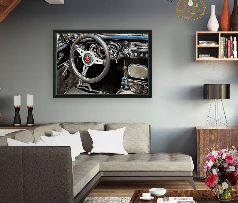MG B Glance At Interior  Art