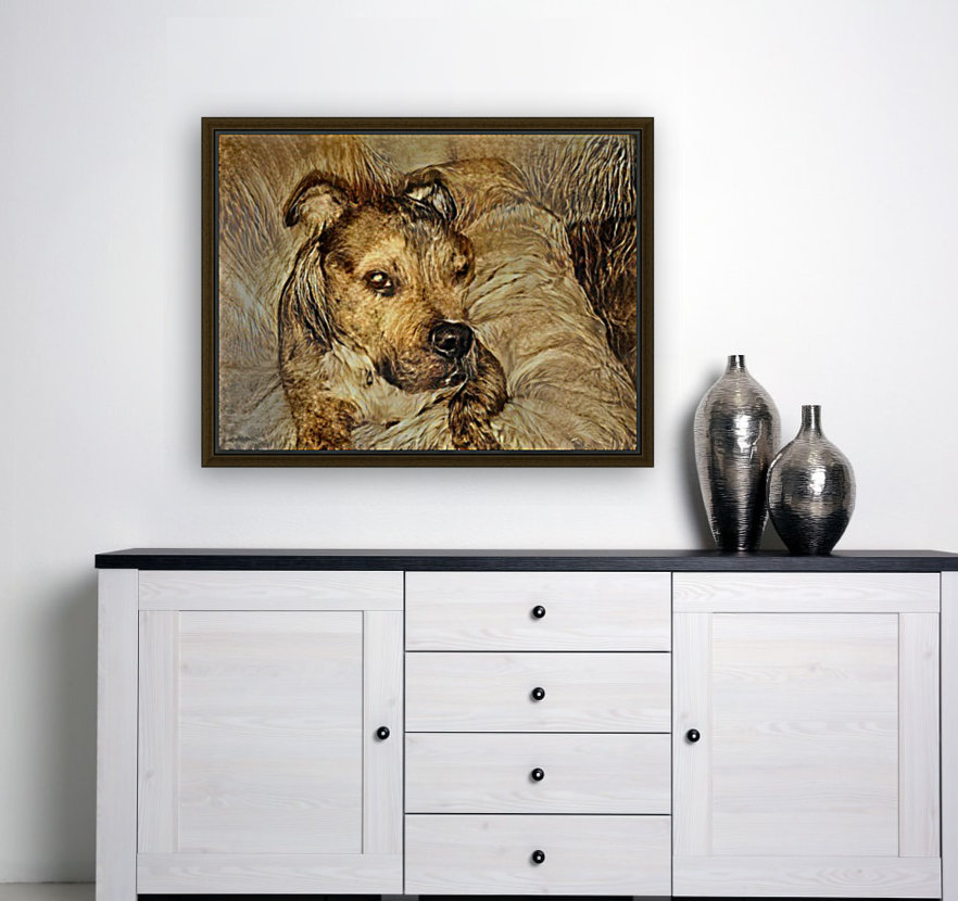 Dog Drawing (14) with Floating Frame
