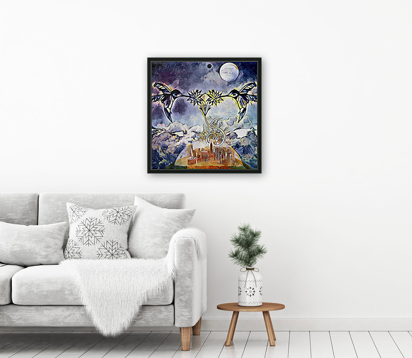 Two hummingbirds in the sky eating nectar nearby a domed city  Art