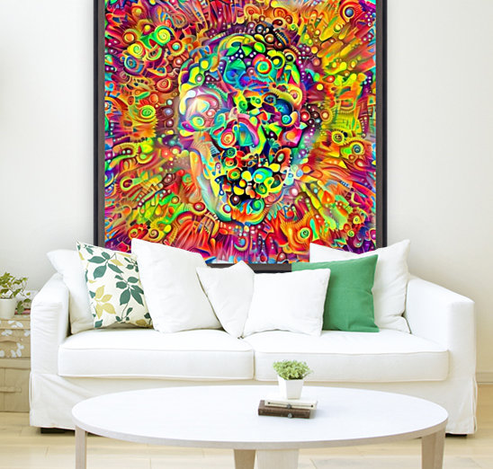 Vivid Skull Silhouette with Floating Frame