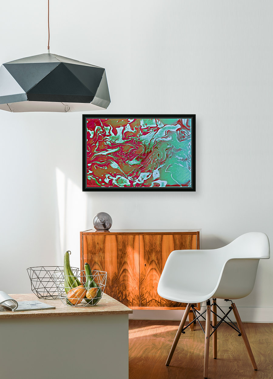 Fire and Ice - turquoise red gradient abstract swirl wall art  Art
