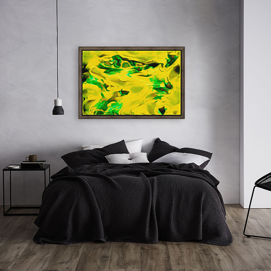 Golden Synchronicities - gold green abstract swirl wall art with Floating Frame