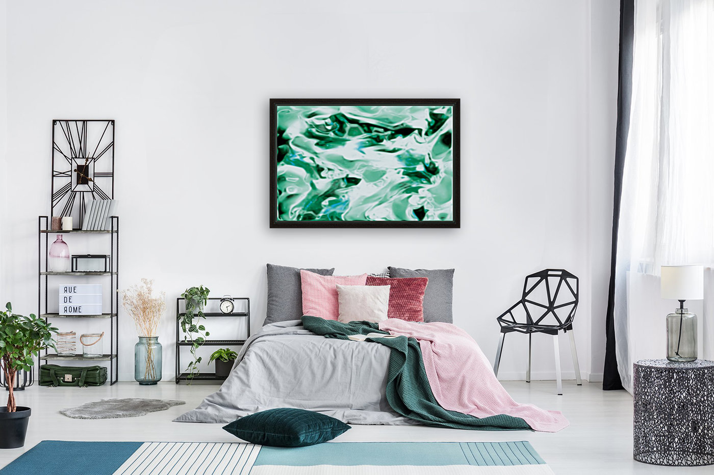 Icicles - turquoise white abstract swirls wall art  Art