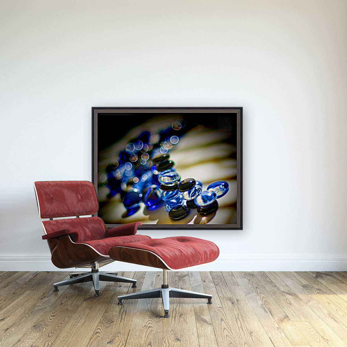 Blue Mosaic Glass Gems with Floating Frame