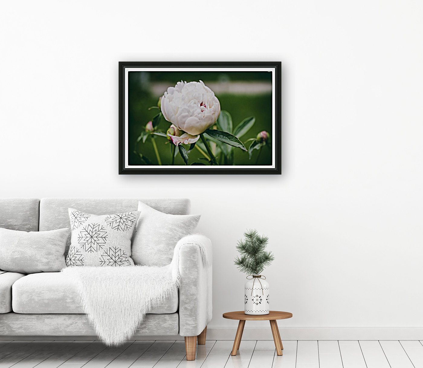 White Peony with Floating Frame