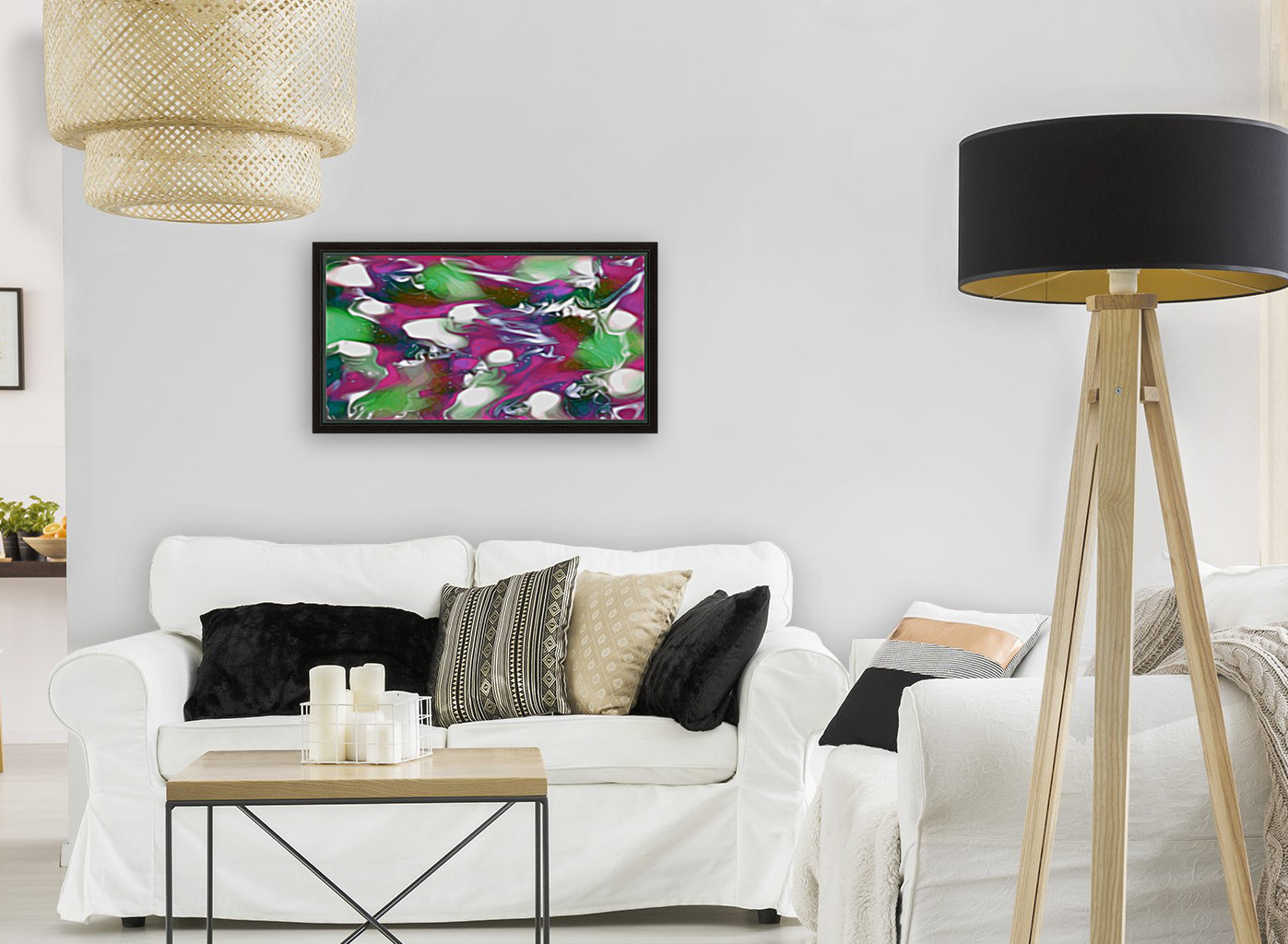 Plums & Lime with Mint Leaves - purple green white swirls and spots large abstract wall art  Art