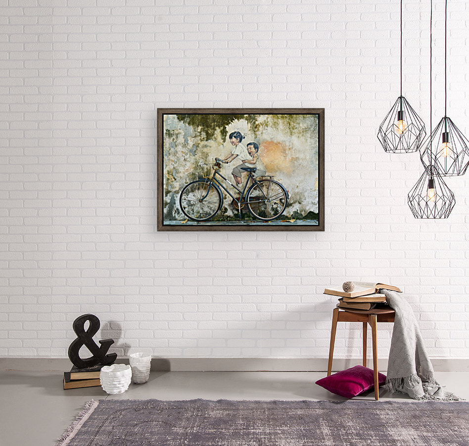 bicycle children graffiti art with Floating Frame
