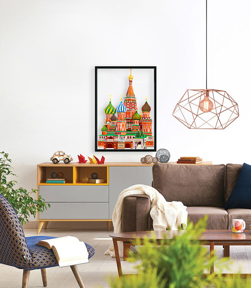moscow kremlin saint basils cathedral red square l vector illustration moscow building  Art