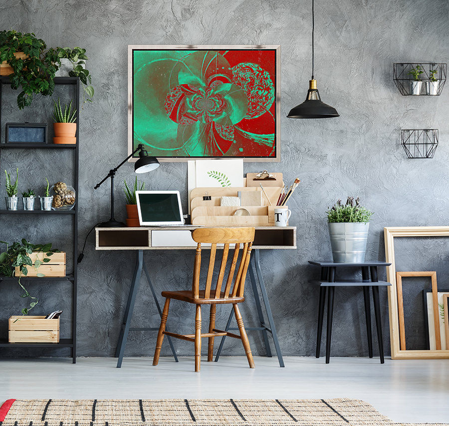 Emerald and Red Circular Patterns  Art