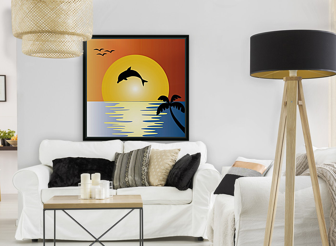 ocean sunset dolphin palm tree  Art