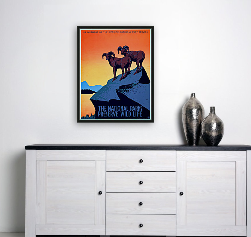vintage poster retro advertisement with Floating Frame