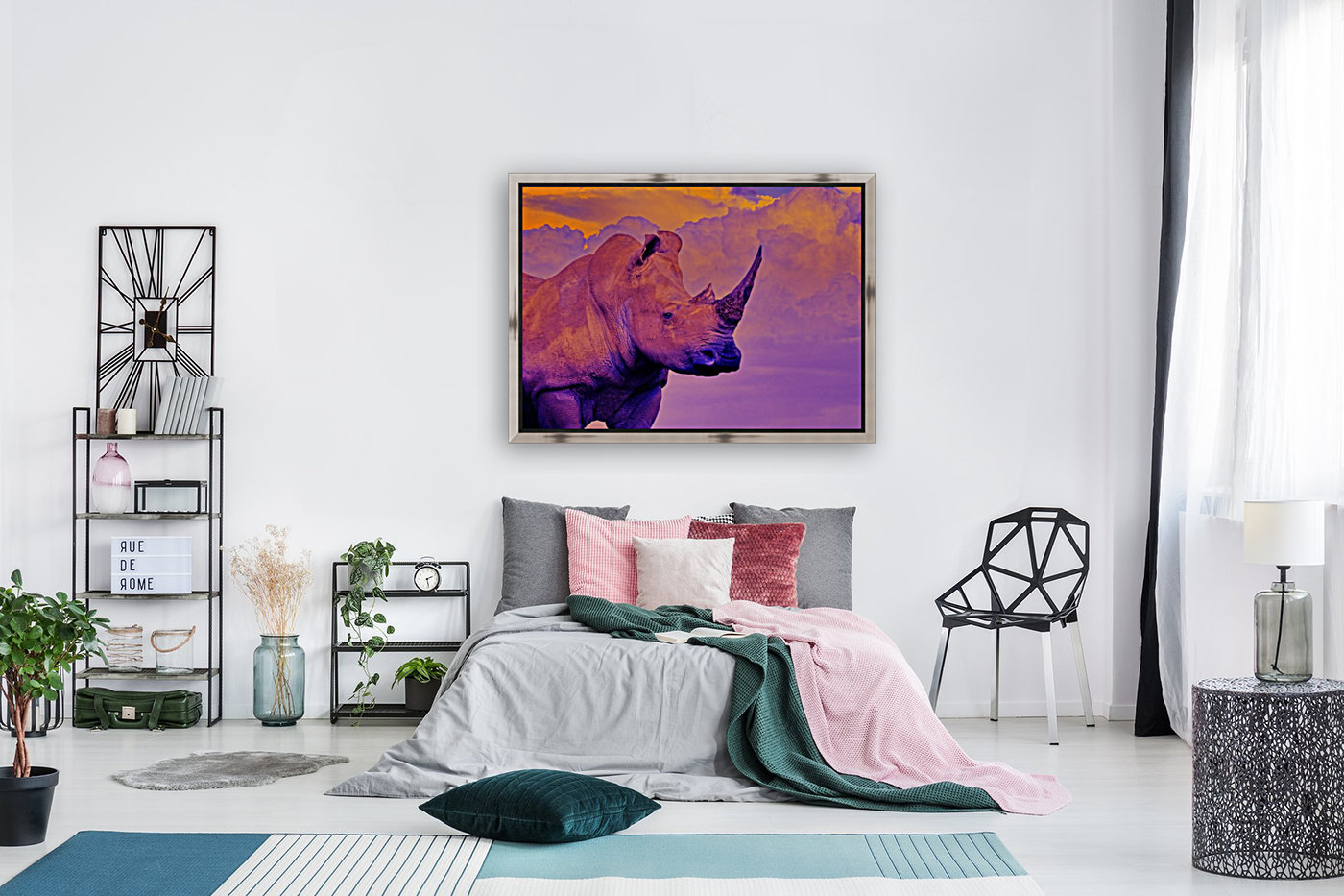 White Rhino orange purple  Art