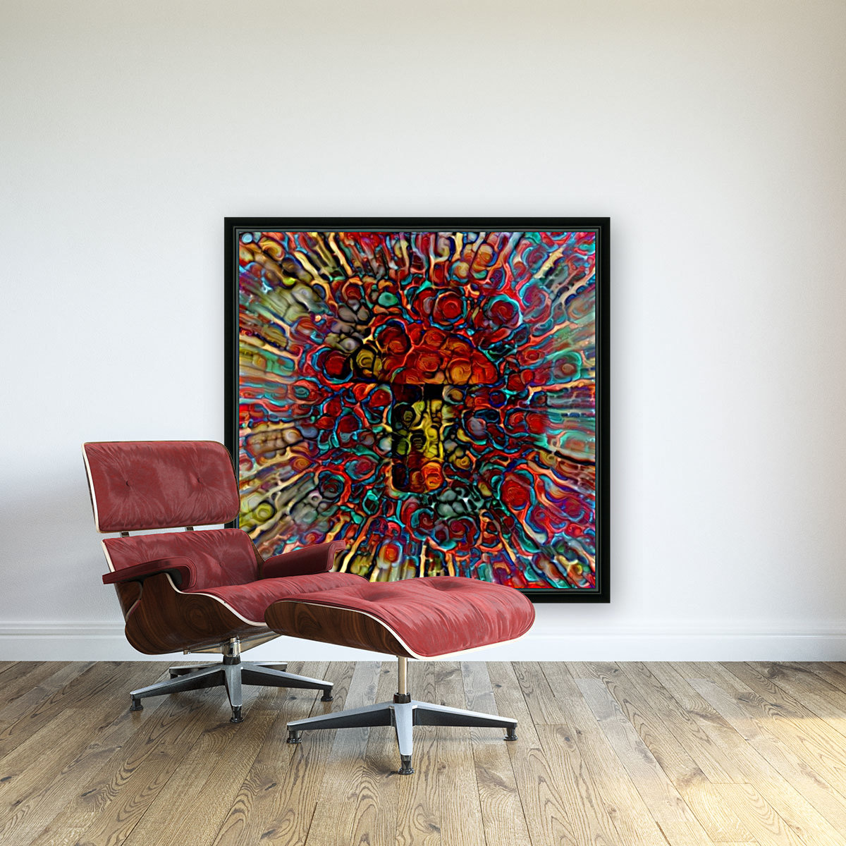 Colorful Mushroom with Floating Frame