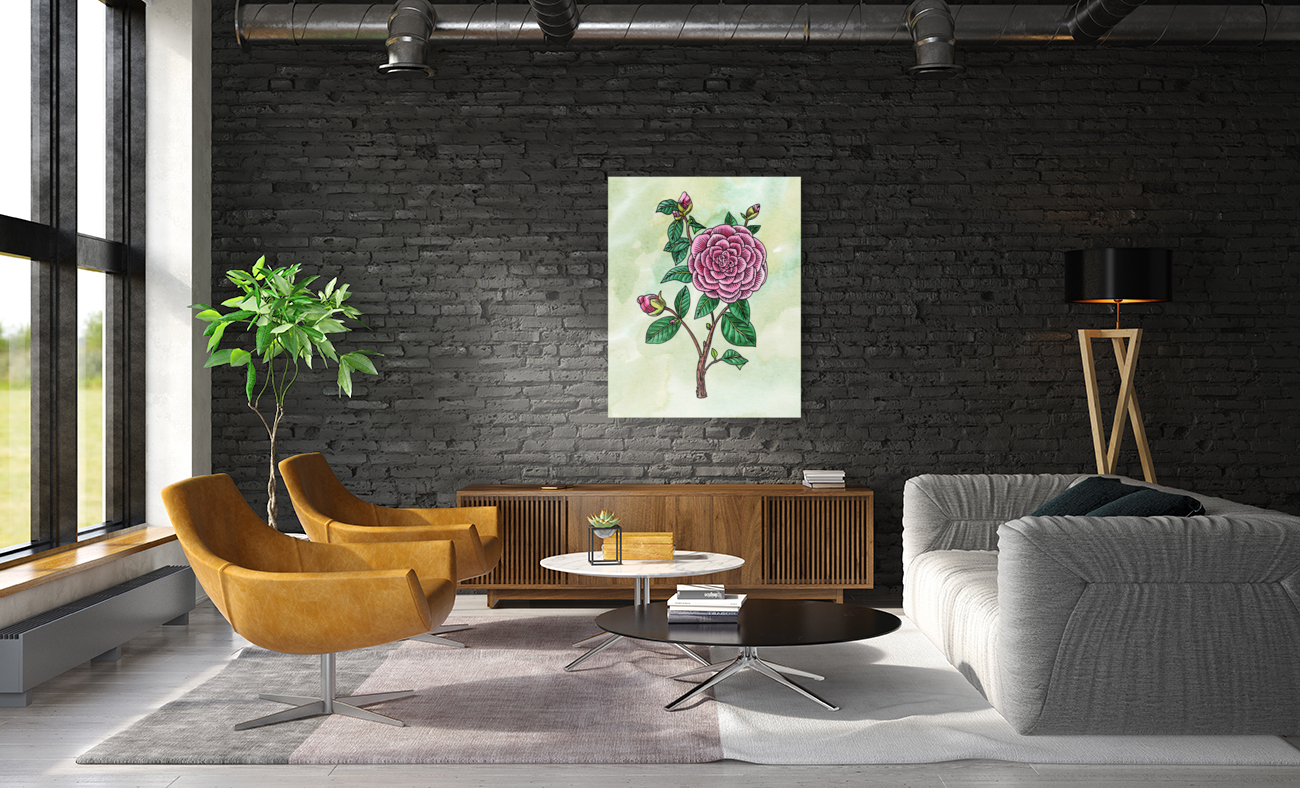 Botanical Watercolor Japanese Camellia Flower   Art