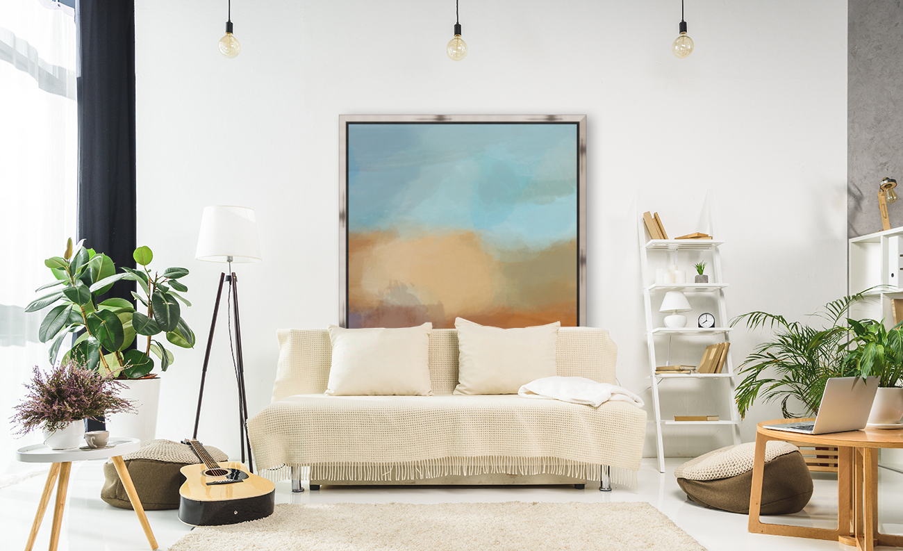 Turquoise and Copper Landscape  Art
