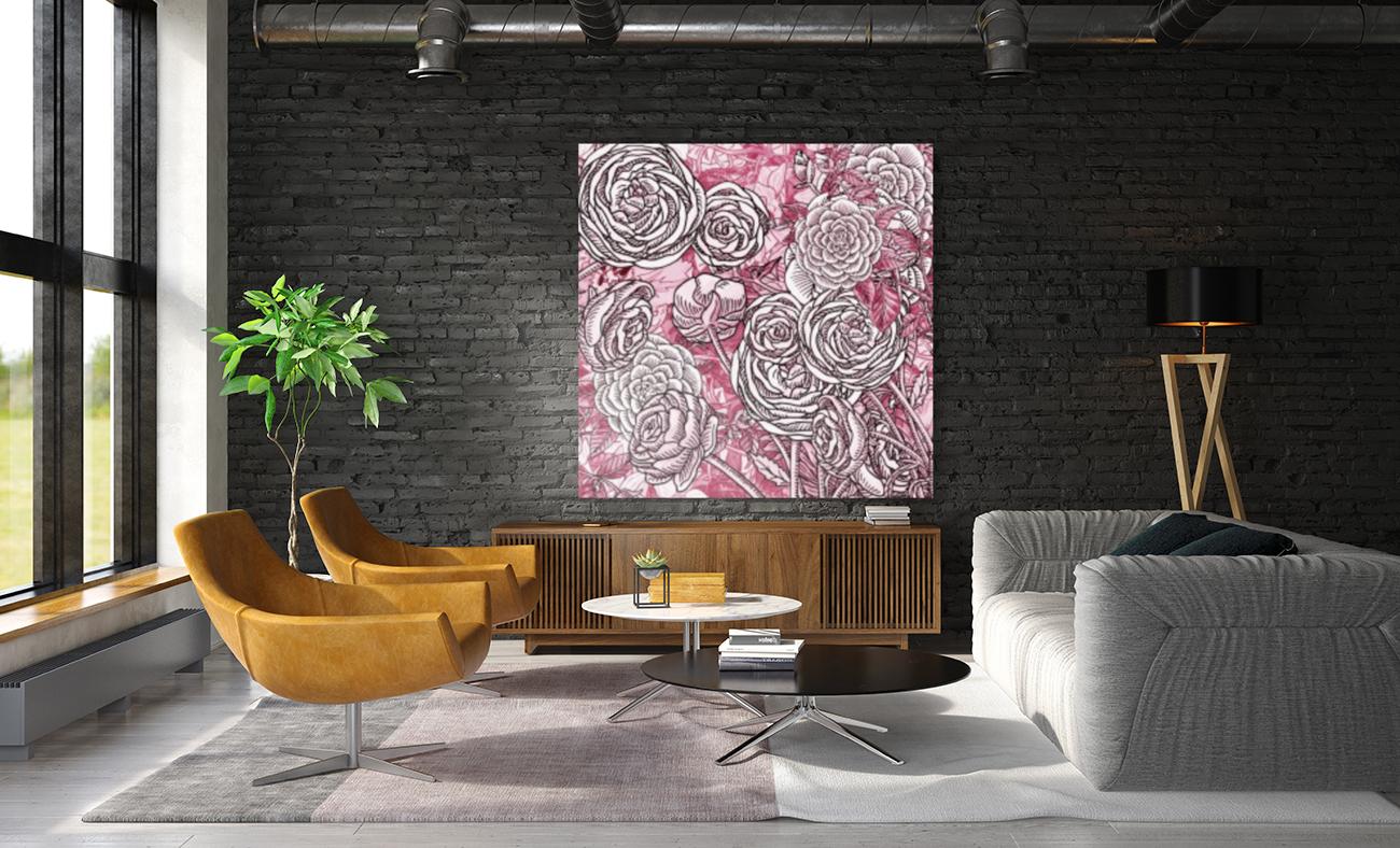Watercolor Botanical Flowers Garden Pink Flowerbed V  Art