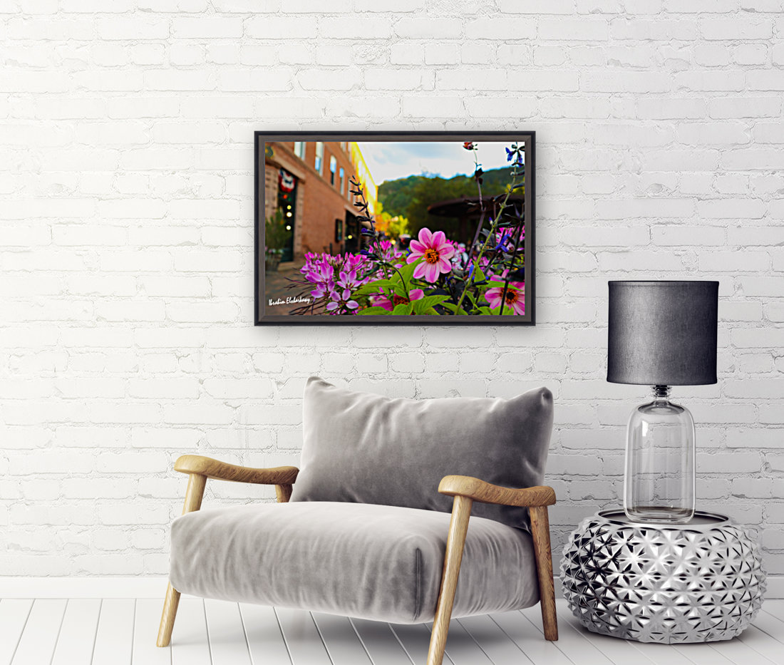 Beautiful pink and purple flowers in European city  Art