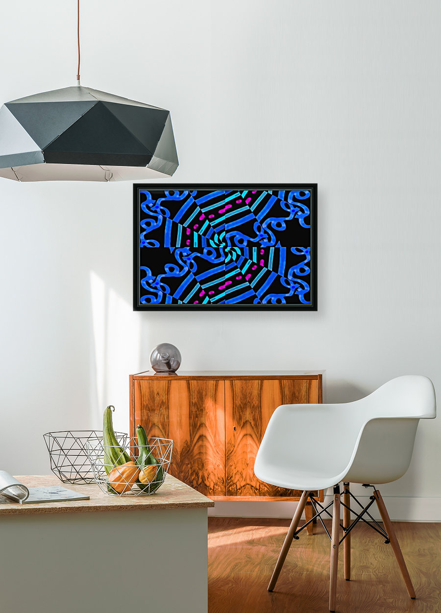 Modern Ornate Abstract Artwork with Floating Frame