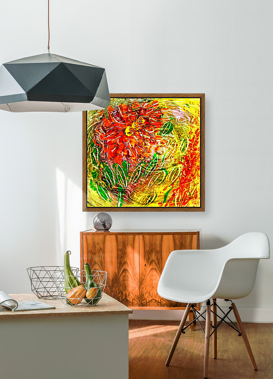 orange flower energy abstraction with Floating Frame