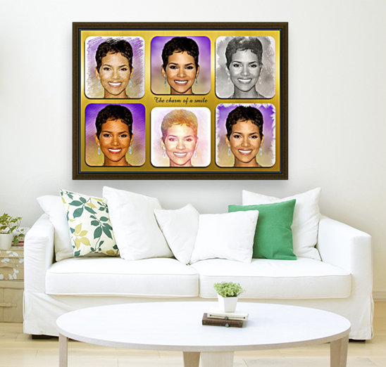 Halle Berry pop star celebrity  with Floating Frame