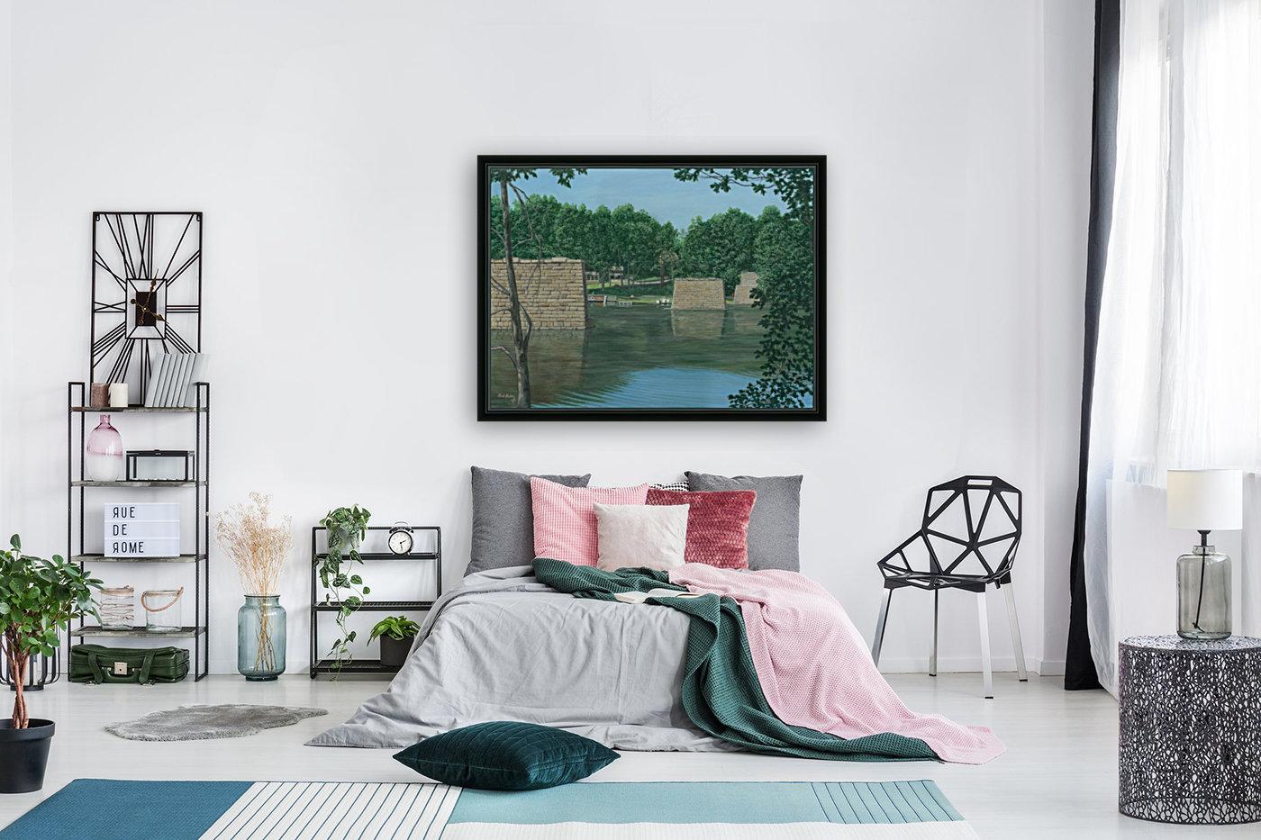 Stone Piers Housatonic River - Newtown Scenes 18 X 24   Art