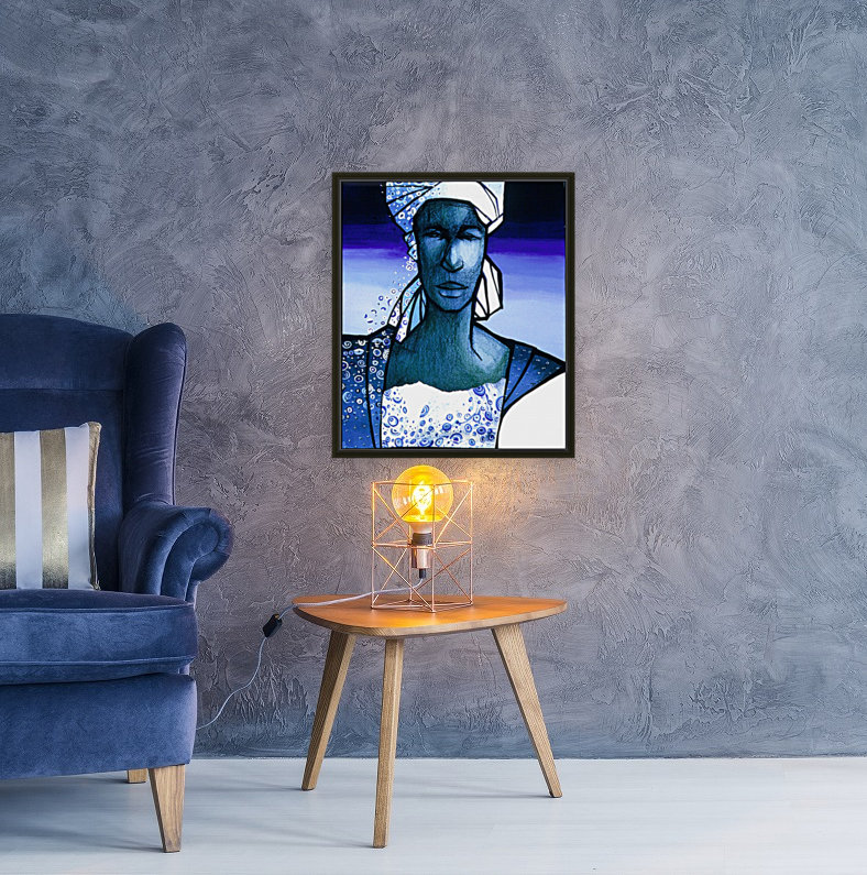 femme au turban bleu with Floating Frame