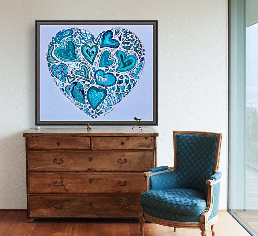 Blue Hearts with Floating Frame