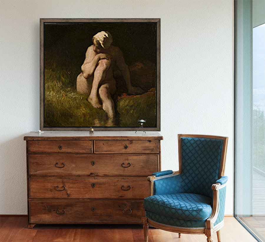 Nude bather by the waterside  Art