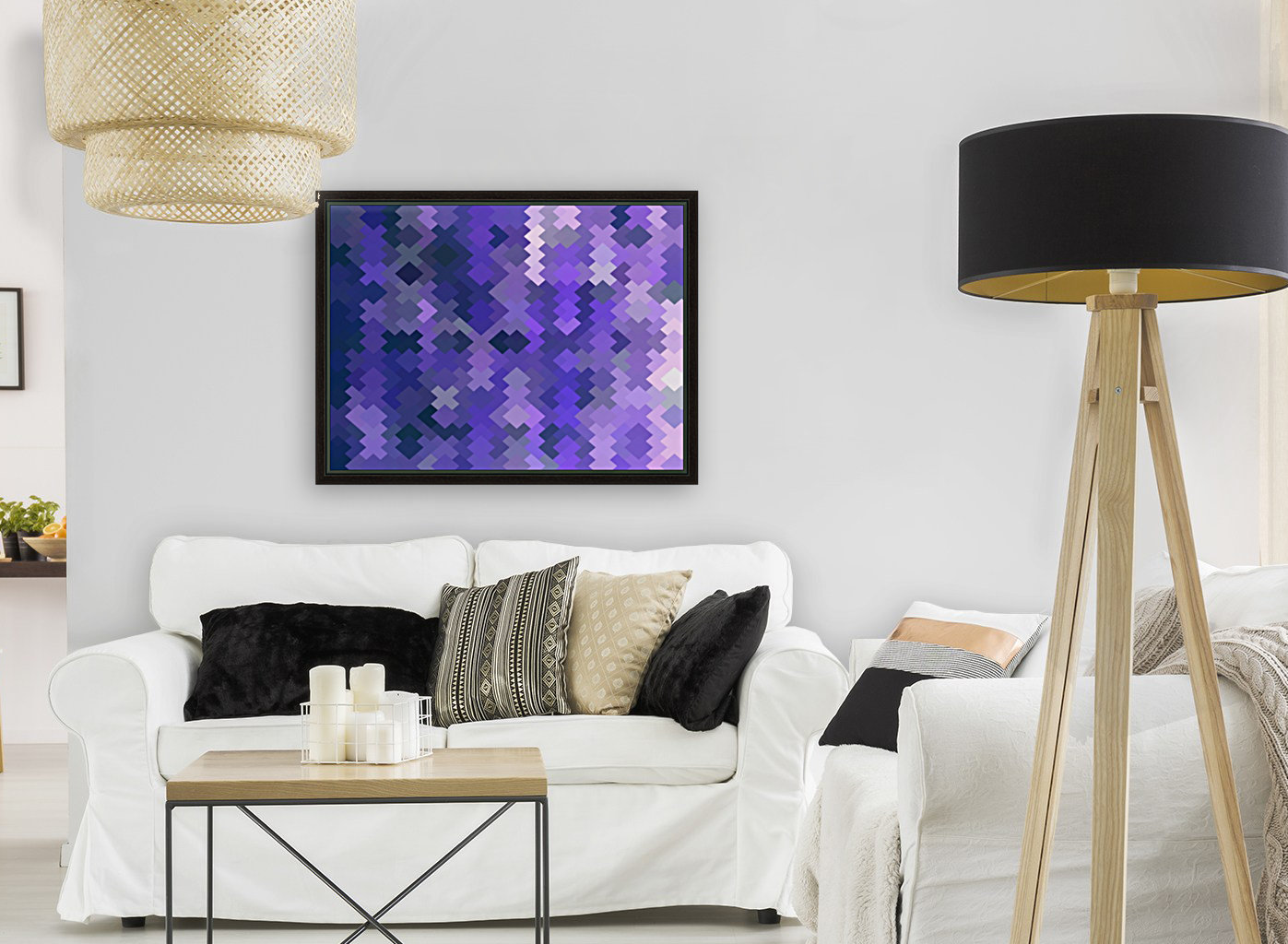 geometric square pixel pattern abstract in purple  Art