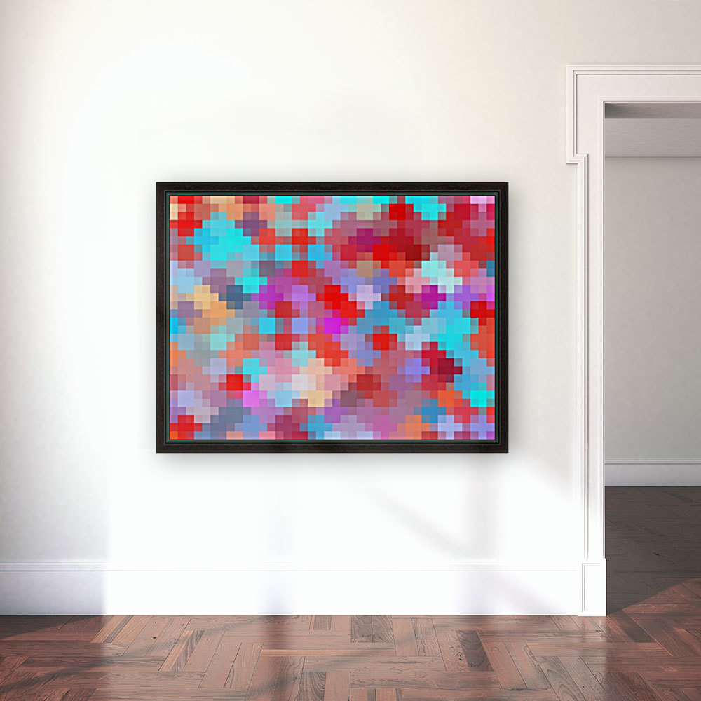 geometric square pixel pattern abstract in pink red blue  Art