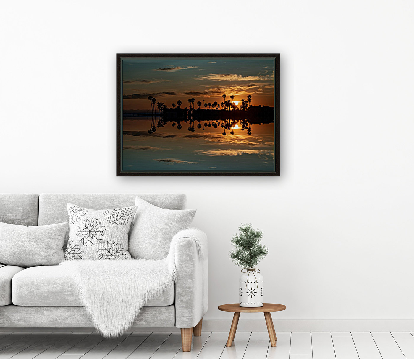 Sunset over Corona Del MAr California with Floating Frame