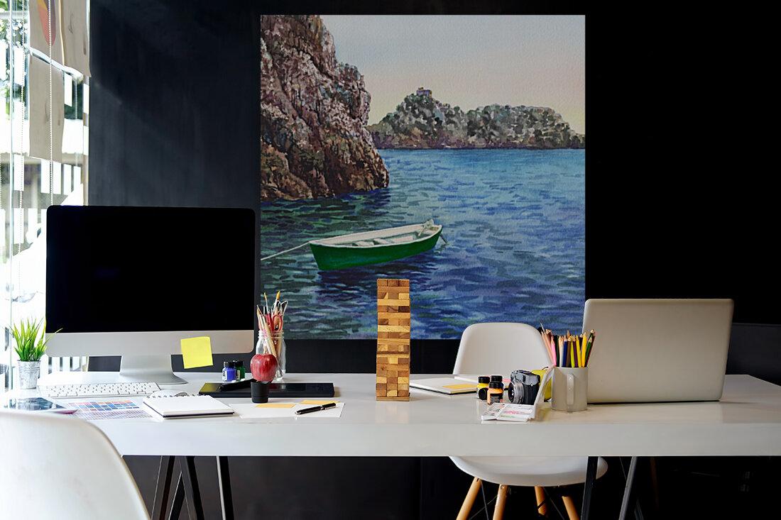 Green Boat Blue Sea Grotto Emeraldo Harbor   Art