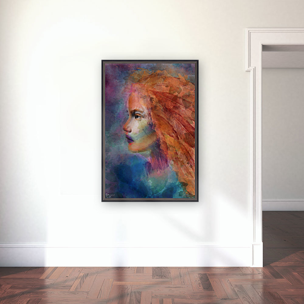 The autumn girl with Floating Frame