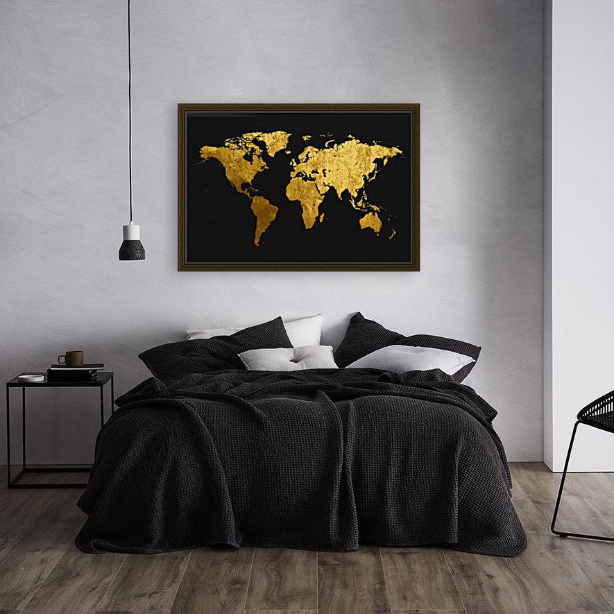 Golden World Map  Art