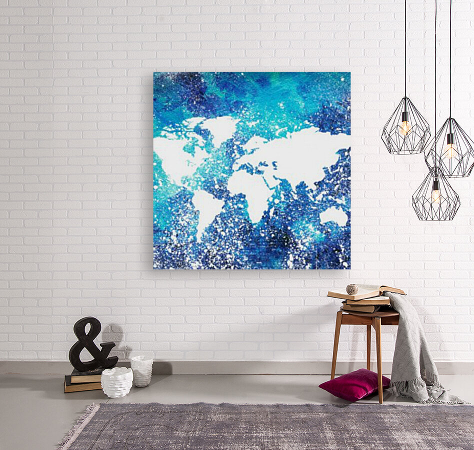 White And Teal Watercolor Silhouette World Map   Art