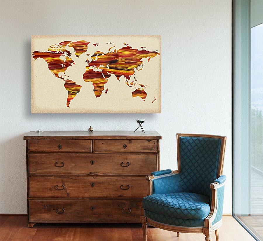 Watercolor Silhouette World Map Terra Lines  Art