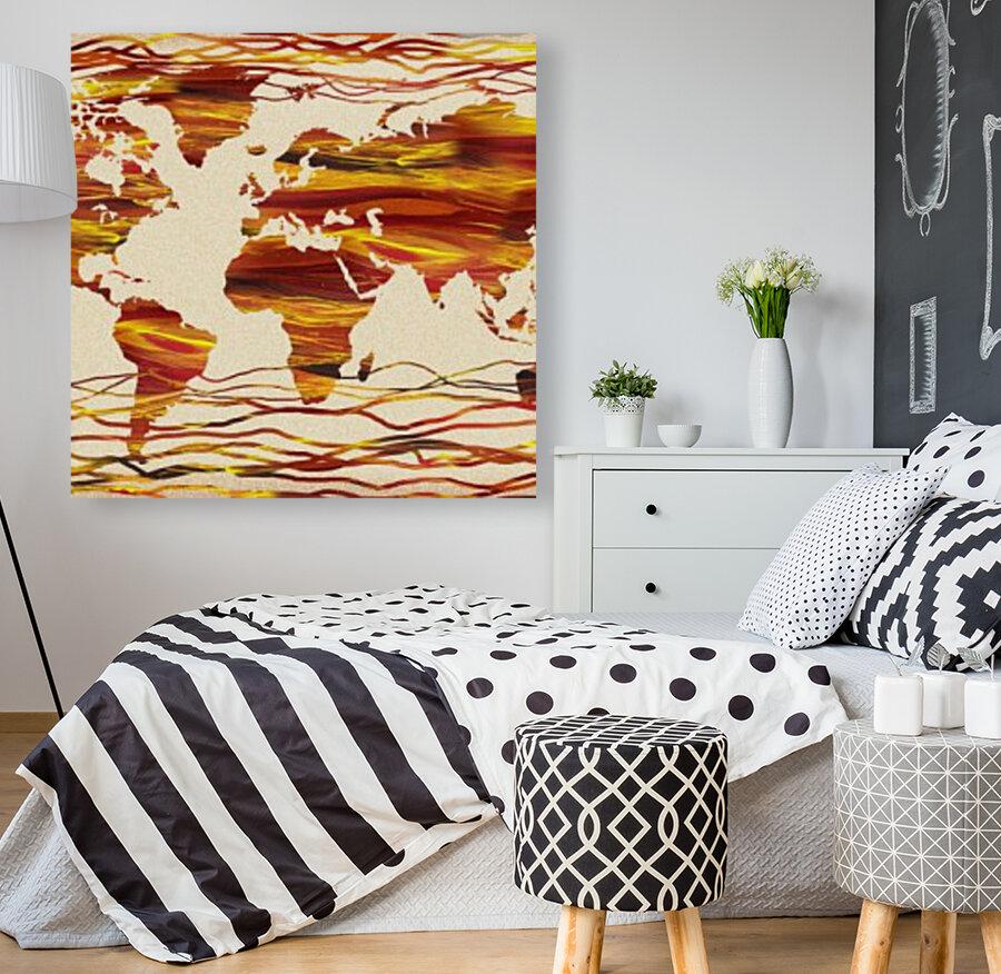 Watercolor Silhouette World Map Brown Beige Waves   Art