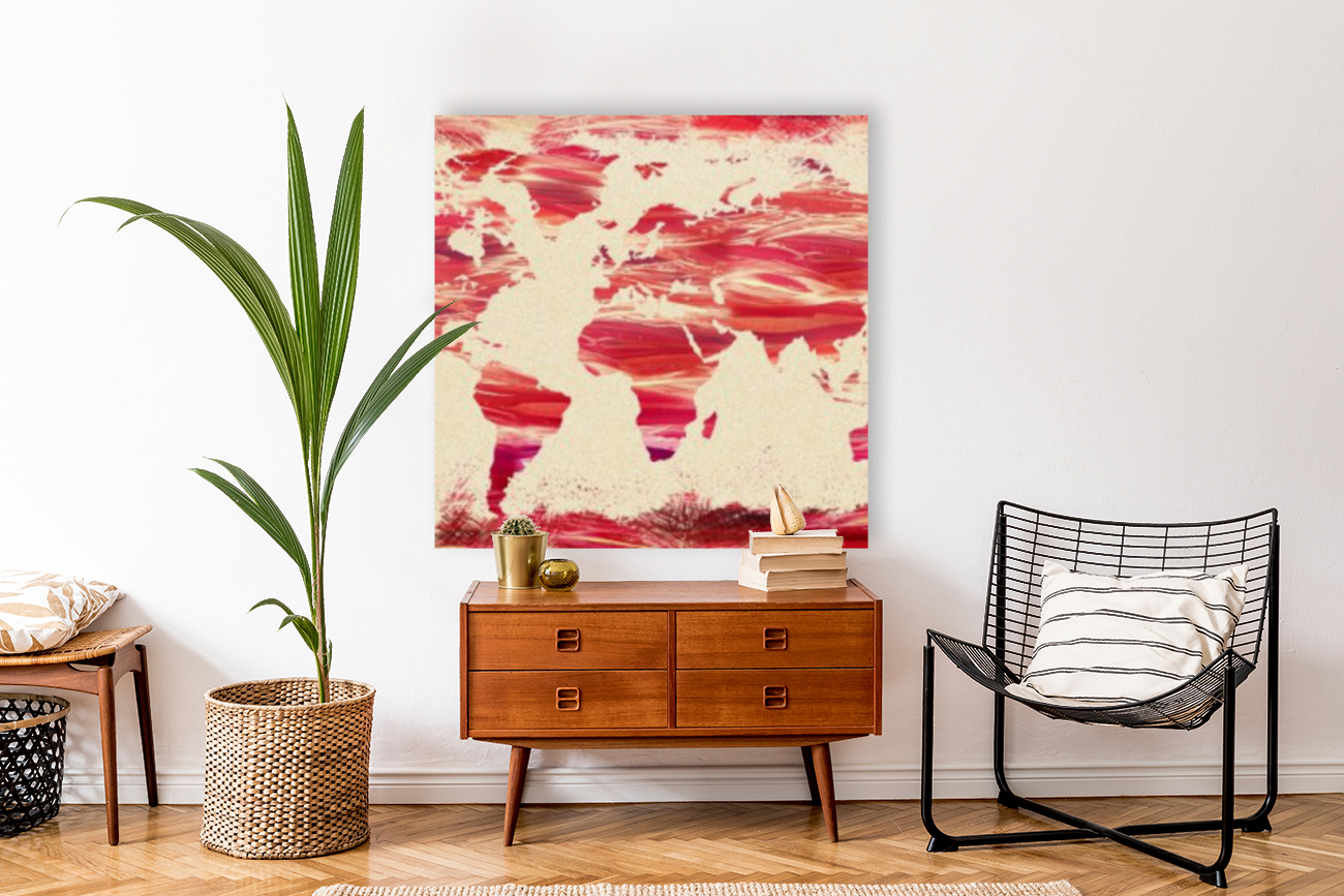 Watercolor Silhouette World Map Pink Terra  Art