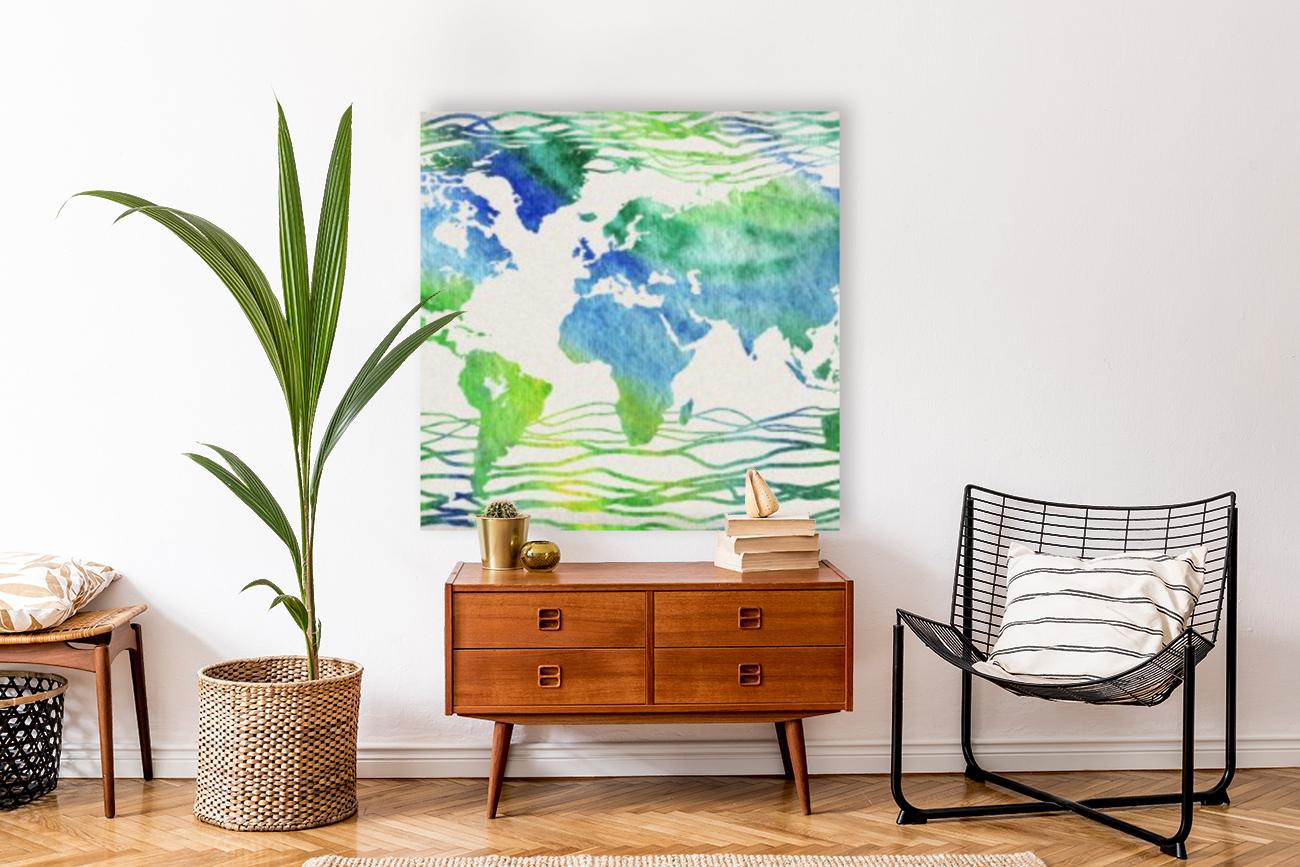 Watercolor Silhouette World Map Blue Green Wave   Art