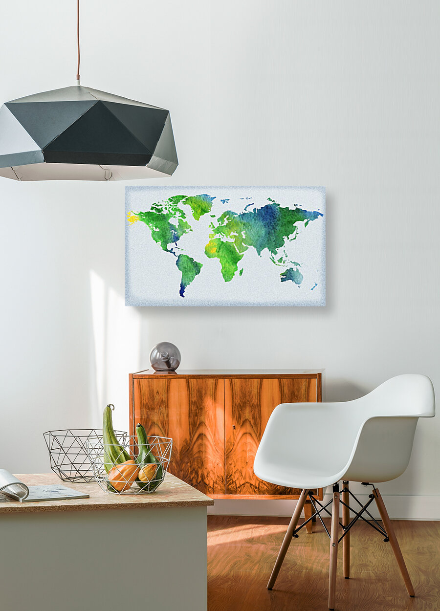 Watercolor Silhouette World Map Peaceful Green   Art