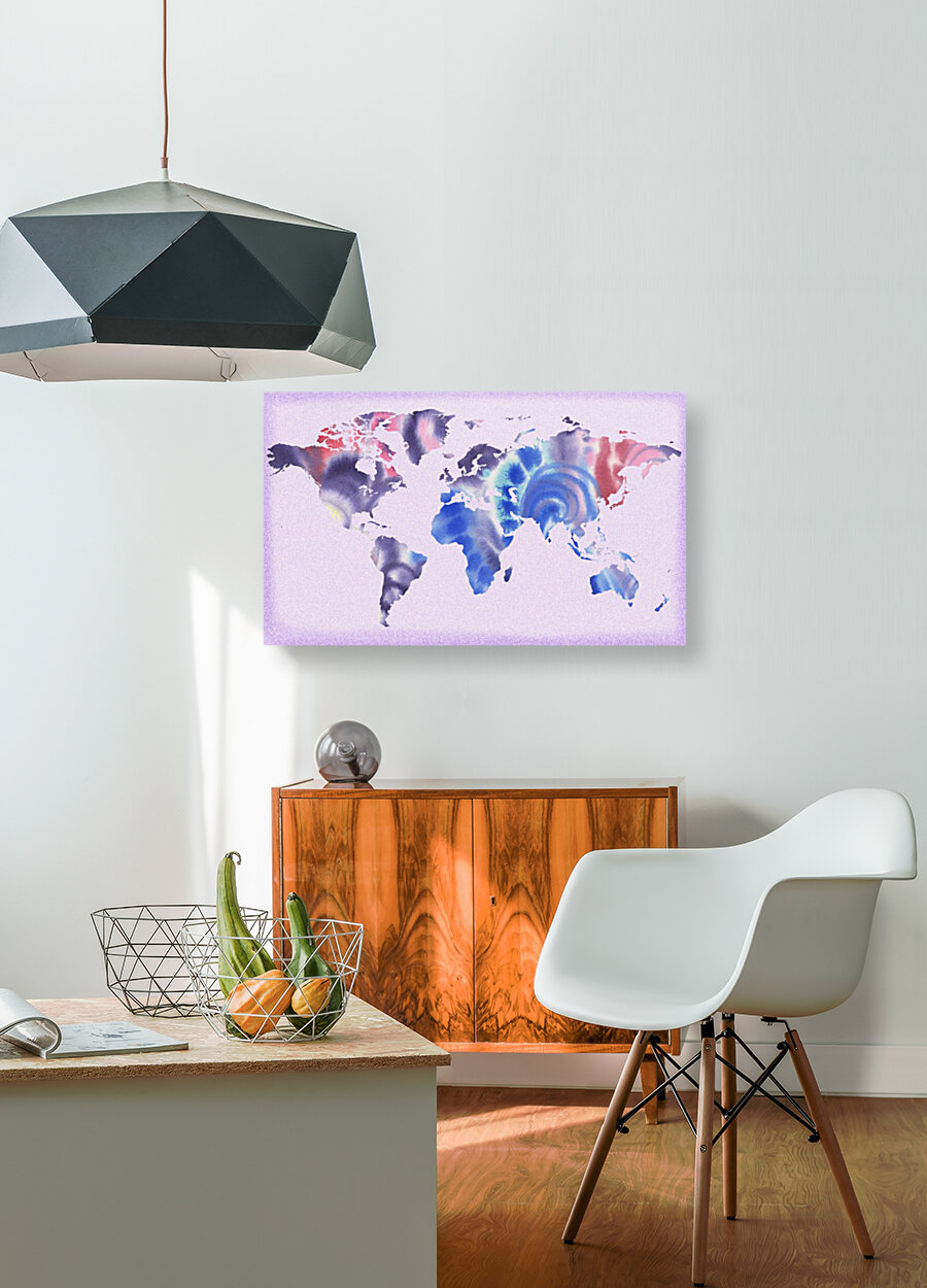 Watercolor Silhouette World Map Lilac Blue And Purple  Art