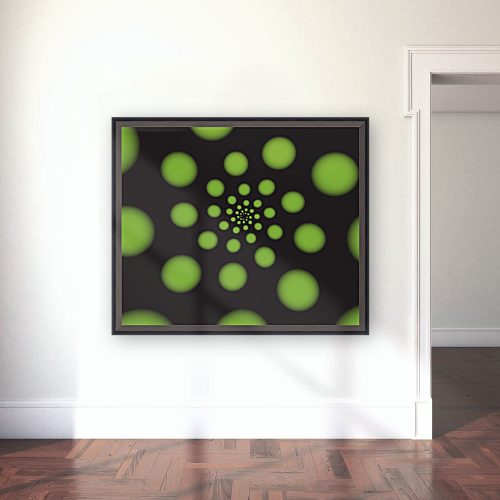 Green Spiral Dots with Floating Frame