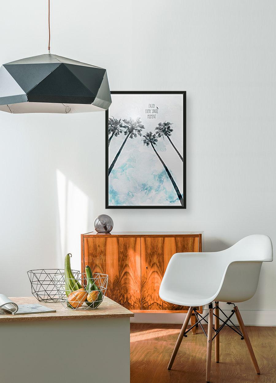 Palm trees with sun   enjoy every single moment  Art
