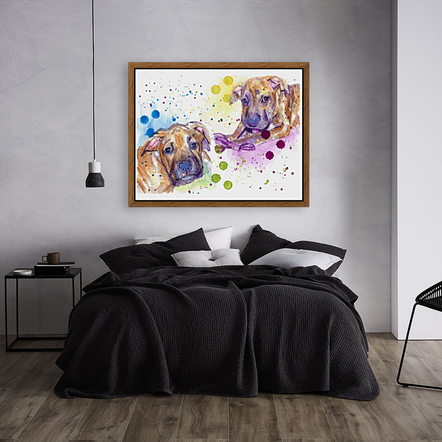 2 Colorful Dogs Brindle - Portrait of Emma and Louis  Art