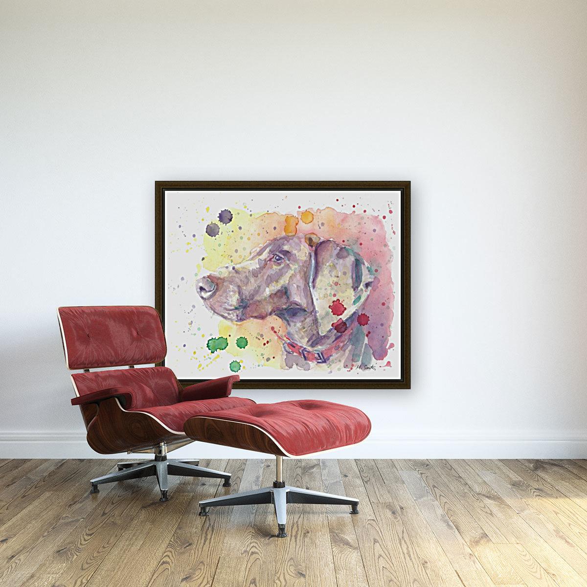 Weimaraner Dog - Portrait of Nandi  Art