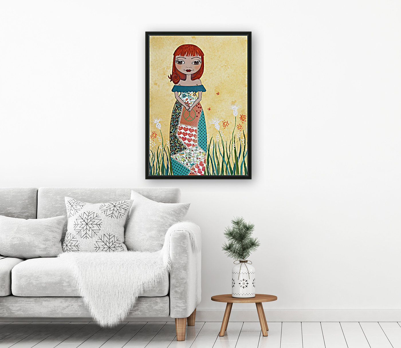 Peace Girl with Floating Frame