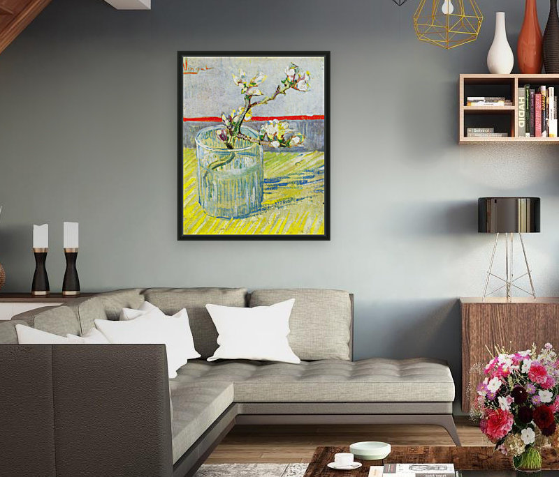 Almond Blossom branch by Van Gogh with Floating Frame