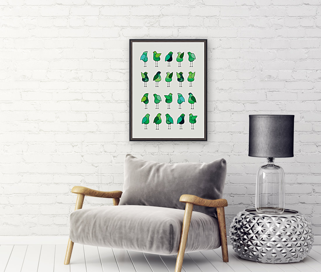 Gossip Birds Green with Floating Frame