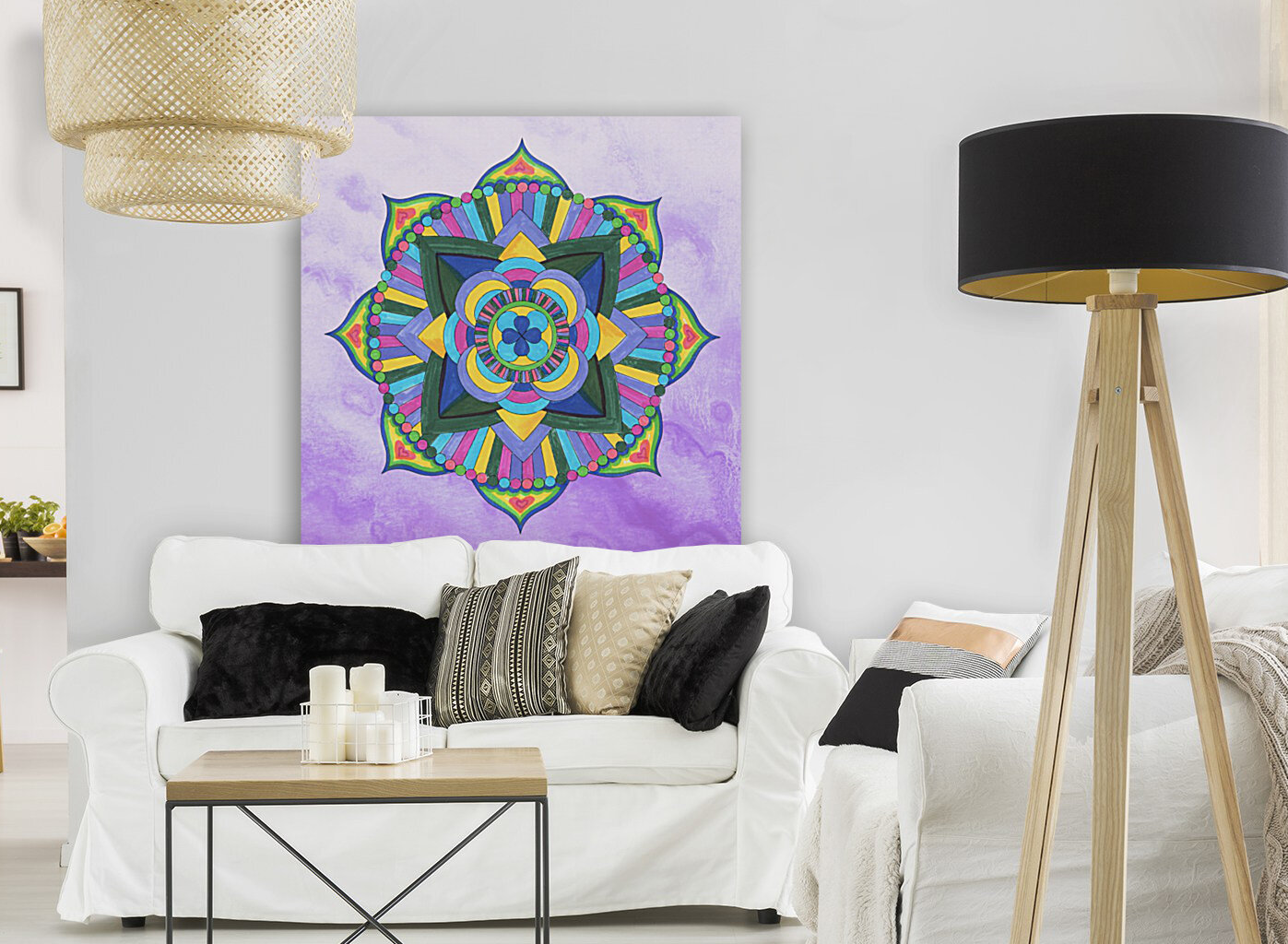 Hand Painted Mandala Watercolor Meditation on Purple  Art